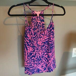 Like New Silk Lilly Pulitzer Tank Blue/Pink